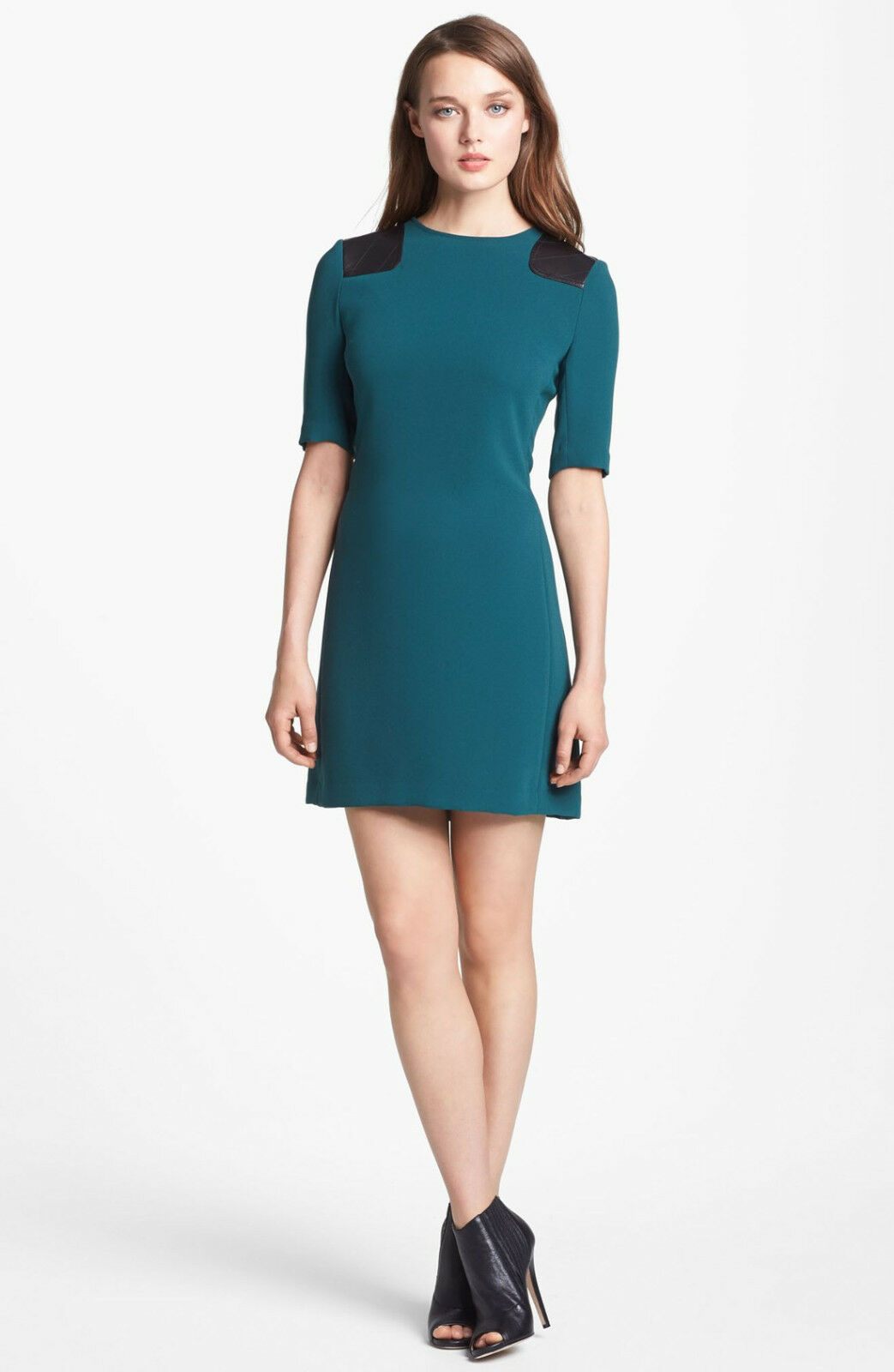 MARC by MARC JACOBS Teal Goblet Dress Short Sleeve Shift Mini Leather Caps