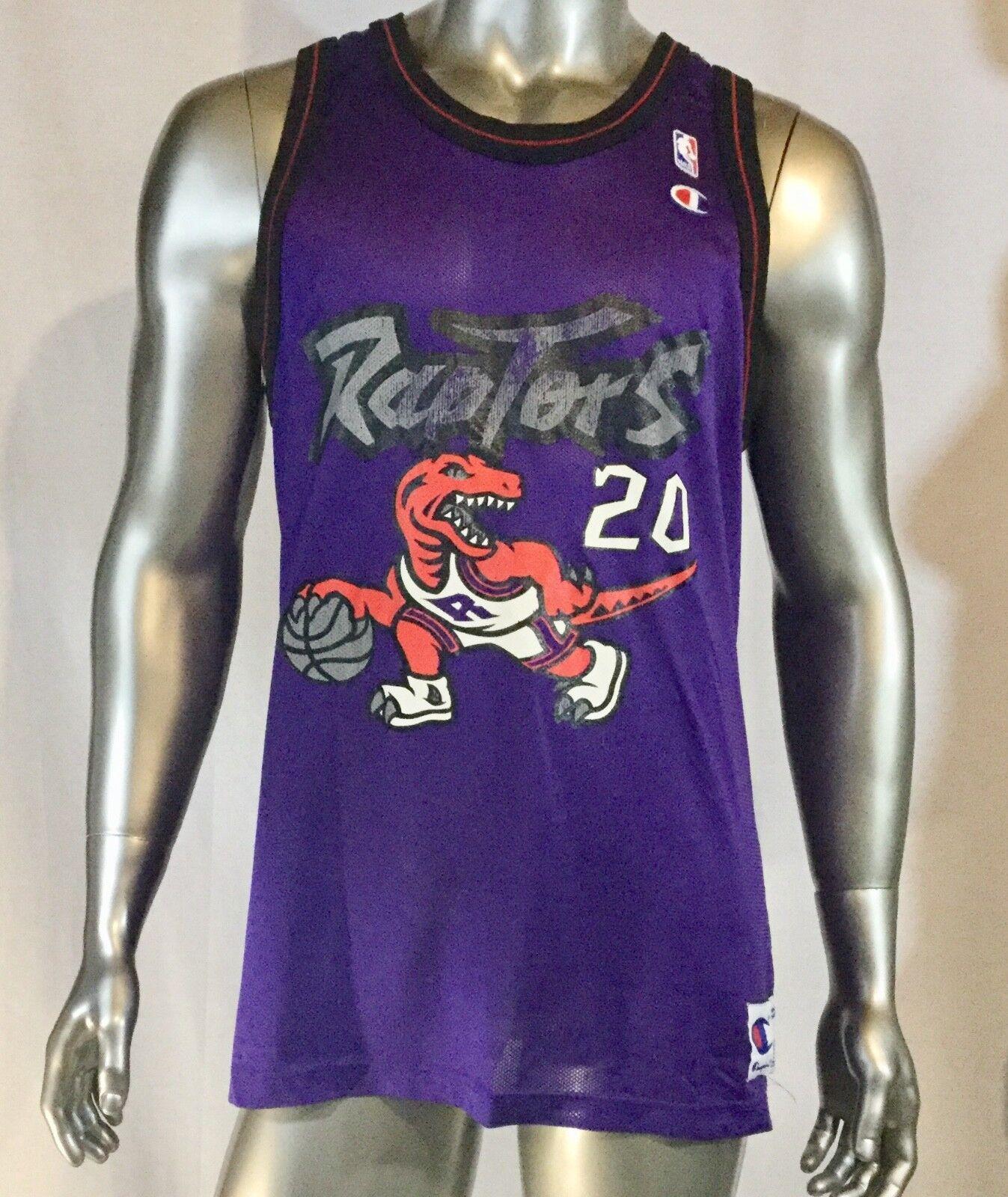 Vintage Selten NBA TGoldnto Raptors  20 Damon Stoudamire Champion Jersey. Größe 48