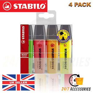 STABILO-BOSS-ORIGINAL-Highlighter-Markers-Pens-Wallet-Pack-of-4-Assorted-Colours