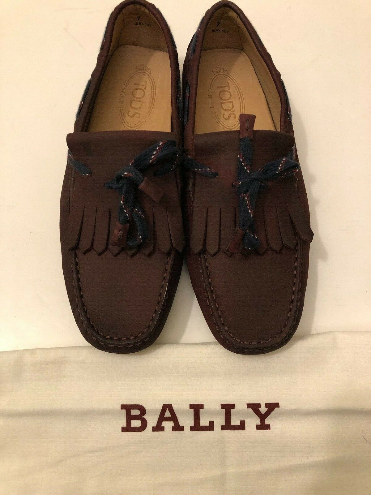 New Men  450 Tod's Hogan Maroon Driver loafers leather scarpe 7 w  Bally bag Saks