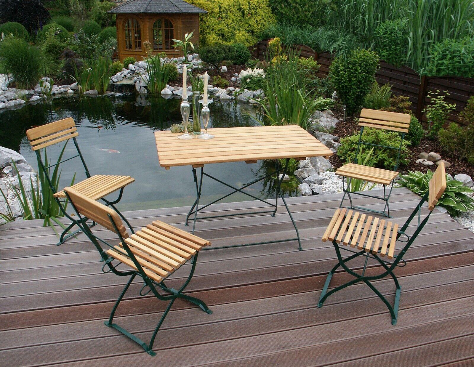 Garnitur MÜNCHEN 5 teilig Flachstahl Sitzgruppe Grün Tisch Stühle Robinenholz Robinenholz Robinenholz b2b205