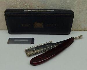 Vintage Durham Duplex Safety Shave Razor Red Celluloid Body Extra Razors Og Box