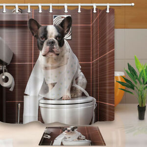 Image Is Loading French Bulldog Dog Shower Curtain Bathroom Decor Fabric