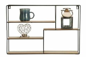 5-Section-Wall-Unit-Wood-Industrial-Style-Metal-Wire-Shelf-Rack-Storage-Display