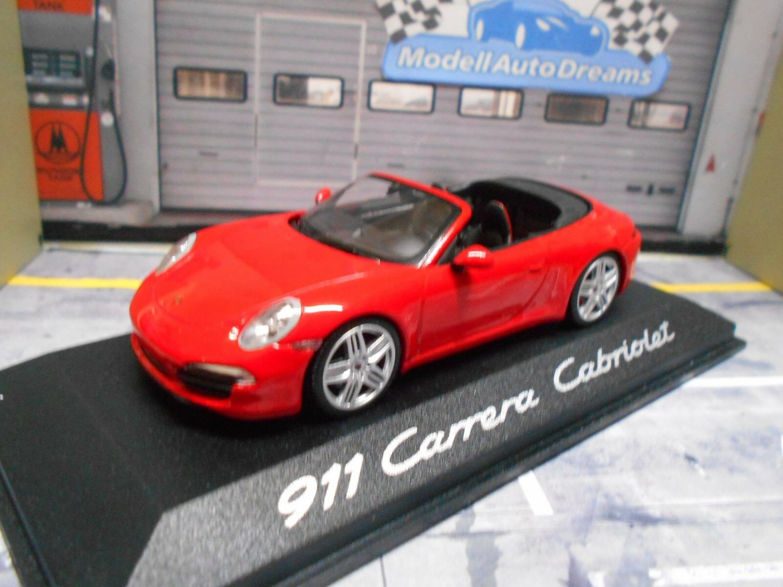 PORSCHE 911 991 Carrera Cabriolet Cabrio rot rot Minichamps Dealer 1 43  | Förderung