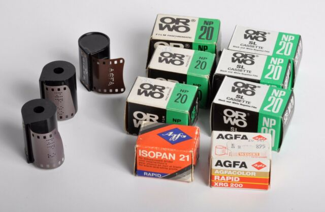 Lomography assorted lot of 11 SL and Rapid film cassettes - ORWO, AGFA
