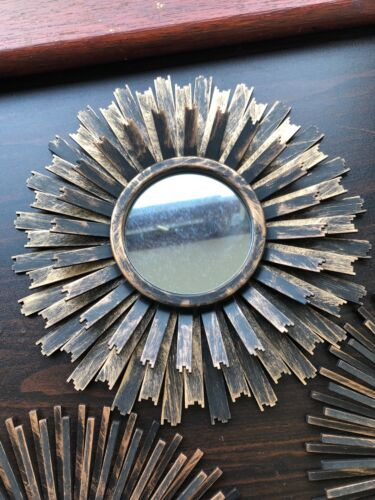 SET OF 3 Copper Moroccan art deco Round Mirrors Sunburst Wall Mirrors new