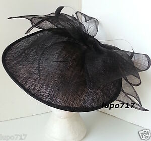BLACK-BOW-SINAMAY-FEATHER-HAT-FASCINATOR-WEDDING-ASCOT-RACE-HEN-PARTY-LADIES-DAY
