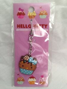 Hello-Kitty-Cupcake-Cellphone-Charm-Bag-Charm-Rare-Kawaii-Sanrio-Trinkets-Brown