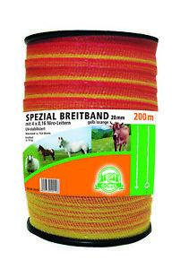 200m Weidezaun Spezial-Breitband 20mm Elektrozaun Weideband NiRo orange gelb NEU