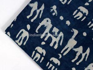 By-The-Yard-Indian-Blue-Indigo-Hand-Block-Print-Cotton-Fabric-Dressmaking-Sewing