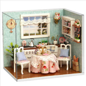 Doll House Miniature Diy Build Kitchen With Furniture 1 24 Scale