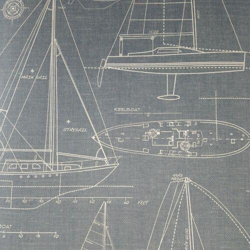 Wallquest Historical Vintage Nautical Blueprint Blue Linen Texture Wallpaper