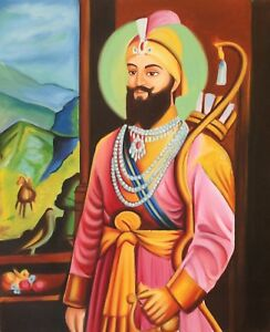 Sikh-Art-Fatto-Guru-Gobind-Singh-Olio-su-Tela-Etnico-Indiano-Punjab-Pittura