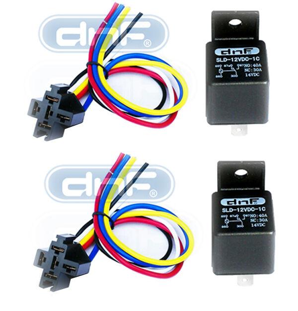 2 PAIR 12 VOLT PREMIUM SPDT RELAYS /& SOCKETS HARNESSES CAR ALARMS AUDIO 40 AMP