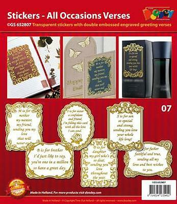 Transparent Stickers with Gold Double Embossed Engraved All Occasions Verses.