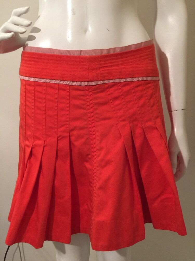 Marc Jacobs Skirt orange Pleated Mini Skirt Women's Sz 8 100% Cotton