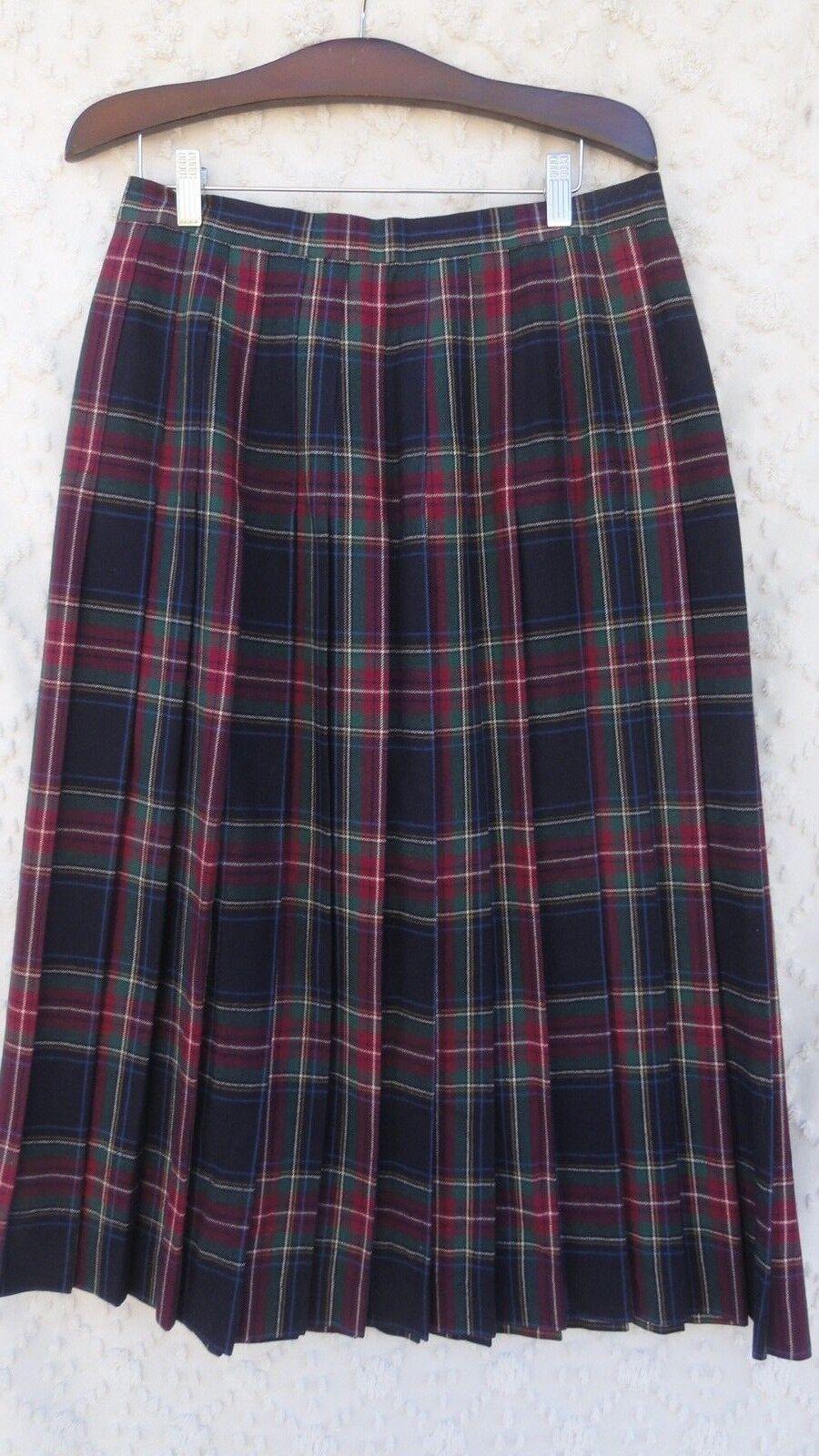 Eddie Bauer WOOL Plaid Skirt Misses 14 bluee Red Green Tartan Plaid USA Made