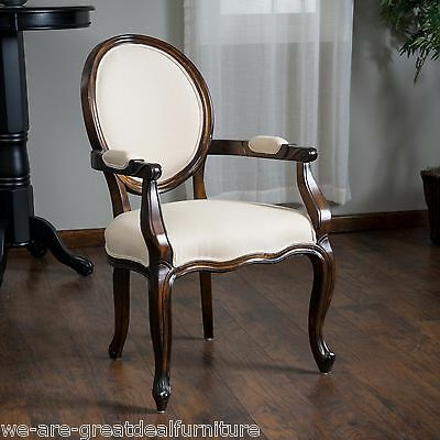 Set of 2 Dining Room Solid Beige Fabric Oak Wood Single Captain Dining Chairs