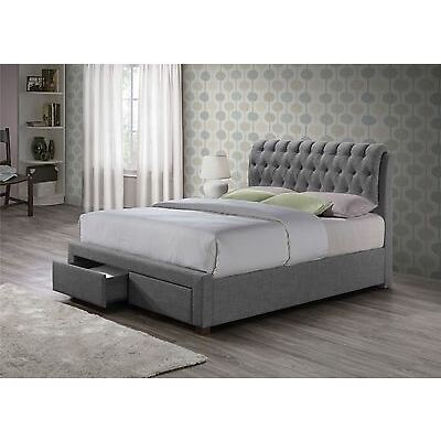 Birlea Valentino Grey Fabric Luxury 2 Drawer Storage Bed Frame Double 135cm 4FT6