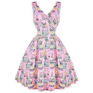 Hell-Bunny-Maxine-Pink-Flamingo-Las-Vegas-Retro-Vintage-1950s-Kitsch-Swing-Dress