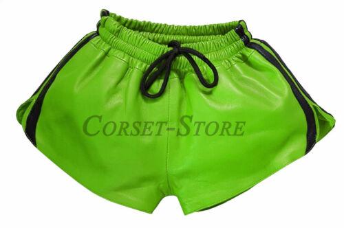 Cuir Shorts Avec Bande Élastique Napa Cuir Sport Style Vert et Noir