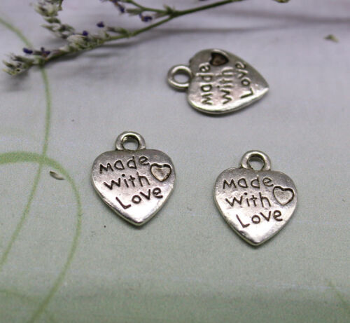 """Free shipping 100//300pcs loving heart /""""made whit love/"""" The love of pendant"""