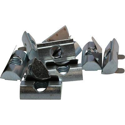 Typ B Stahl 10x Nutenstein einschwenkbar mit Feder Nut 8 M6 mit Steg