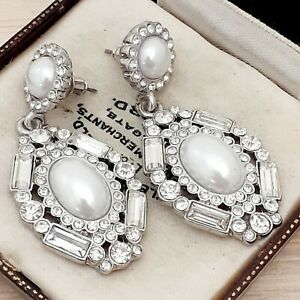 Vintage-Art-Deco-Style-Diamante-amp-Pearl-Large-Drop-Dangle-Pierced-Earrings