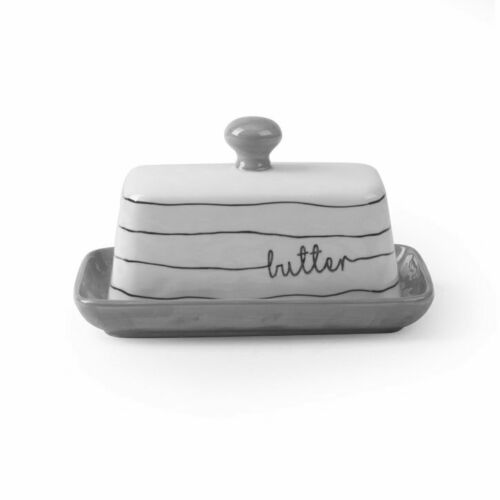 NEW Gray Striped Cheese// Butter Dish