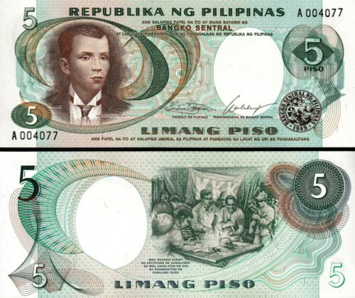 PHILIPPINES  5 PISO 1969 UNC P-143A SIGN 7 LOW SERIAL PREFIX A 00****