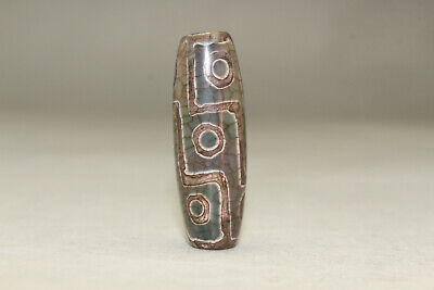 tibetan prayer worry dzi bead old agate 9 eyes amulet gzi antique tibet A38