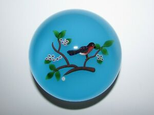 """3.25"""" Limited Edition Baccarat Art Glass Paperweight Bird on Branch Lampwork 877"""