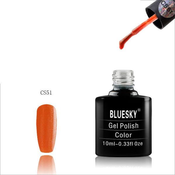 CS51 Bluesky Salon Nail Polish UV GEL Glaze Blaze Orange Gold Glitter