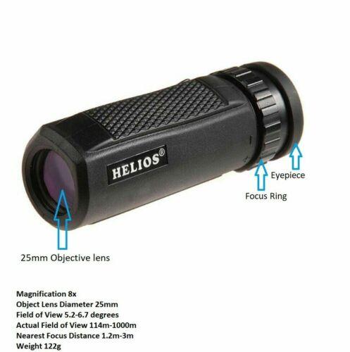Reino Unido stock Helios Rapide 8 X 25 Monocular Compacto #30921 Nuevo Y En Caja
