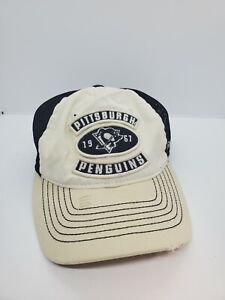 Pittsburgh Penguins Hat NHL Reebok Face Off Flex Fit Fitted Cap Distressed Look