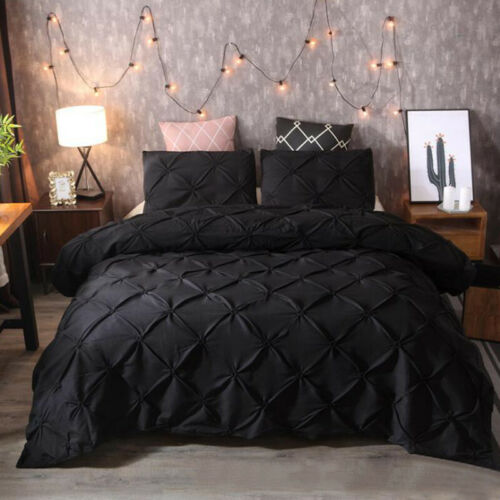 Pintuck Cotton Soft Quilt Duvet Cover Pillowcase Bedding Set Single Double Sizes