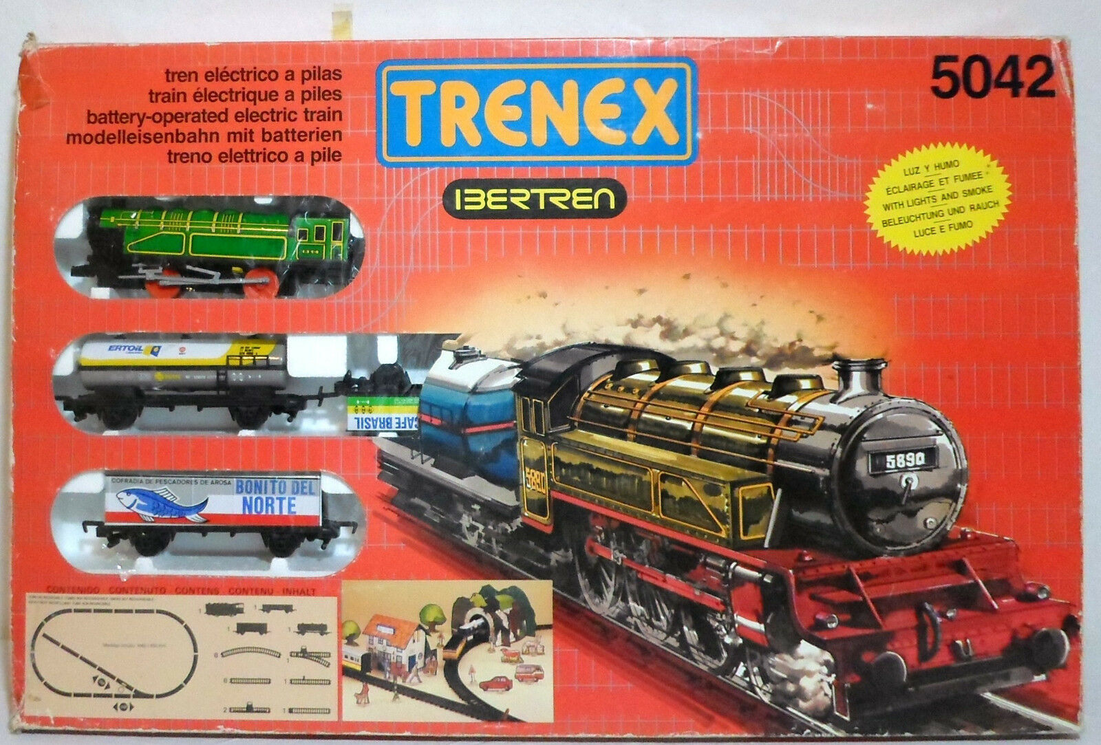 TRENEX BERTREN SPAIN VTG 1988 LITHO TRAIN SET WITH WITH WITH ENGINE + WAGONS MIP 082012