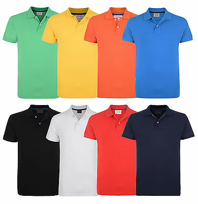 ESPRIT New Men's Cotton Pique Polo Shirt Causal Plain Blue Red White Yellow Top