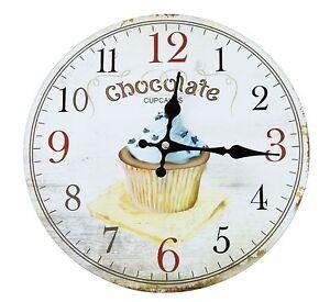 Vintage-Wanduhr-Analog-Kuechenuhr-Muffin-Cupcake-Shabby-Kuchen-Schokolade-Uhr