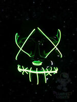 THE PURGE MOVIE El Wire DJ RaveParty Festival Halloween Costume NEON GREEN Mask!