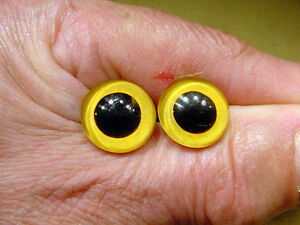 a pair vintage solid Glass Eyes size 16 mm teady bear taxidermy age 1910 Art A84
