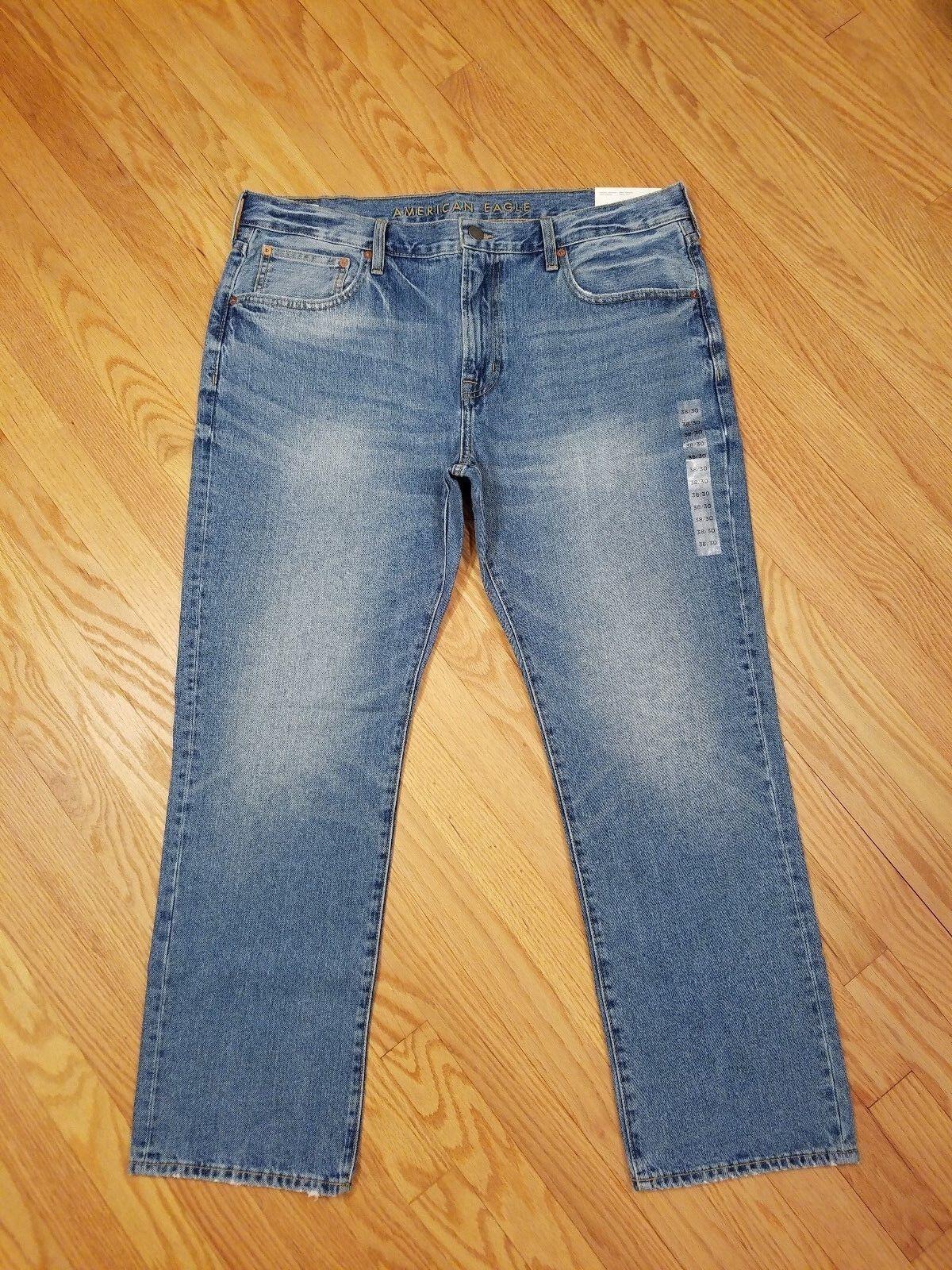 Mens NEW AE American Eagle Original Straight Light Vintage Denim Jeans 38 X 30
