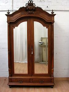 IMPOSING-ANTIQUE-FRENCH-SOLID-WALNUT-ARMOIRE-C1880