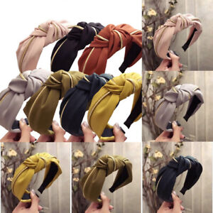 Women-Headband-Twist-Hairband-Bow-Knot-Cross-Tie-Wide-Headwear-Hair-Hoop-AU-Ly