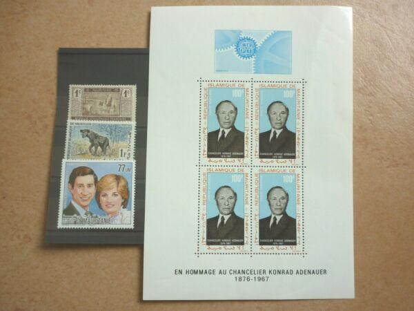 100% De Qualité Mauritanie 3 Marques Et 1 Bloc (*)/** Mw 13,35 Euros (marque Haut Li. Sans Caoutchouc Larges VariéTéS