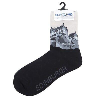 Scottish Edinburgh Castle Scene Black Novelty Adult Cotton Cosy Socks