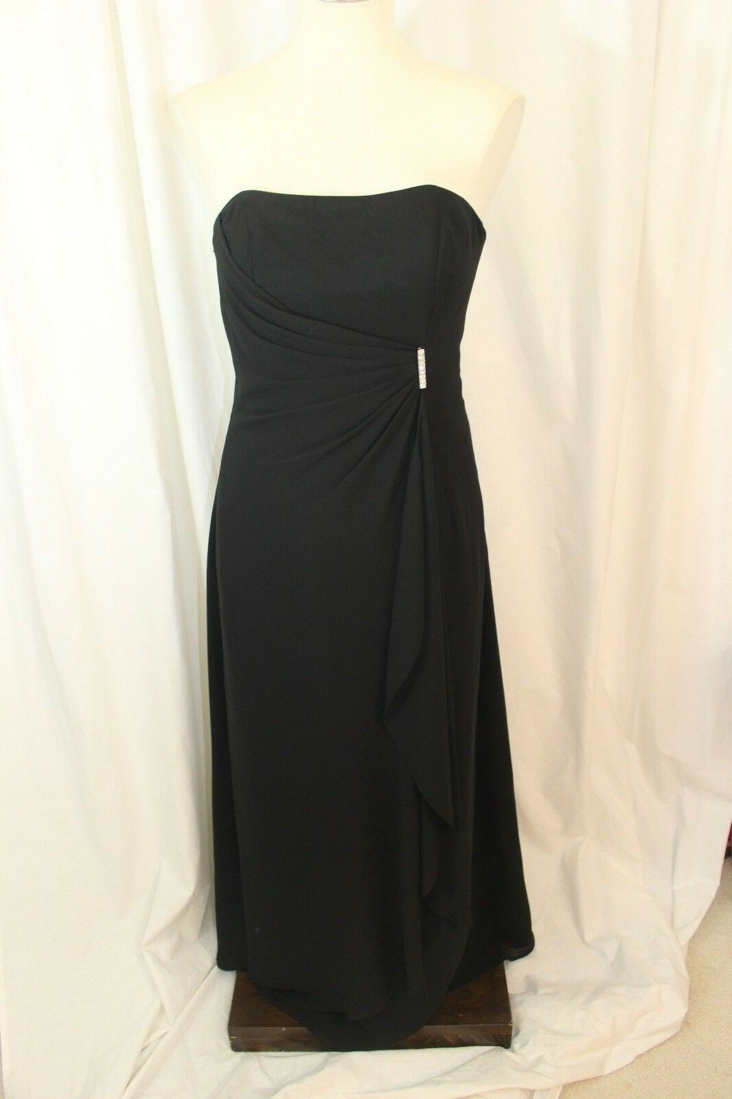 Bill Levkoff Black Strapless Long Polyester Pinned & Draped Evening Gown Size 6