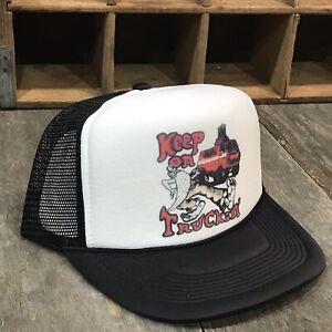 Keep-On-Truckin-Hat-Hipster-80-s-Vintage-Trucker-Hat-Snapback-Baseball-Cap-Black