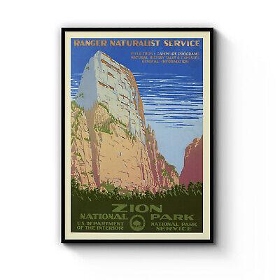 Framed Vintage Zion National Park Utah Ranger Outdoor Sign Poster Art Print